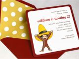 Curious George Photo Birthday Invitations Curious George Birthday Party Invitation Square Envelope and