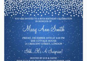 Custom 60th Birthday Invitations Elegant 60th Birthday Party Simple Sparkle Blue