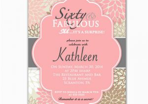 Custom 60th Birthday Invitations Pink 60th Birthday Invitation Sixty and Fabulous Surprise