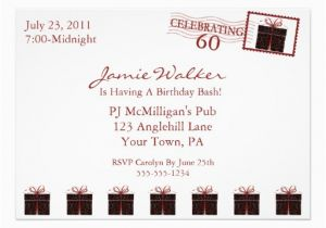 Custom 60th Birthday Invitations Unique 60th Birthday Party Invitation 5 Quot X 7 Quot Invitation