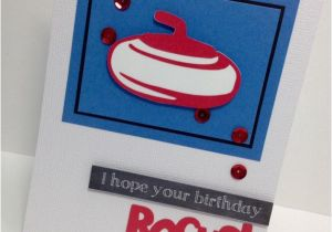Custom Birthday Cards Canada Curling Birthday Card Personalized Red and Blue Greeting