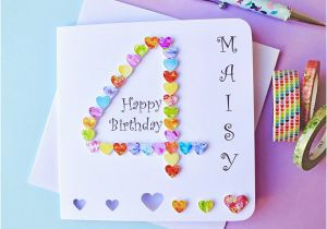 Custom Birthday Cards Uk 4th Card Personalised Age 4 Colourful