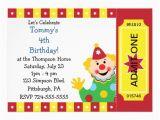Custom Birthday Invitations for Kids Custom Kids Clown Birthday Party 5×7 Paper Invitation Card
