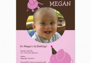 Custom Birthday Invitations with Photo Elephants Custom Photo Birthday Party Invitation Zazzle
