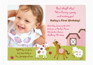 Custom Birthday Invitations with Photo Girl Farm Animal Custom Photo Birthday Invitations Zazzle