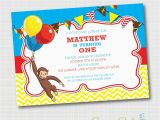 Custom Curious George Birthday Invitations Curious George Birthday Invitation Digital File Custom