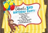 Custom Curious George Birthday Invitations Personalized Curious Birthday Party Invites Colorful Design