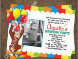 Custom Curious George Birthday Invitations Personalized Curious Birthday Party Invites Photo Invitations