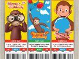 Custom Curious George Birthday Invitations Personalized Curious George Birthday Ticket Invitation Card