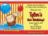 Custom Curious George Birthday Invitations Set Of 10 Curious George Personalized Invitations Ebay