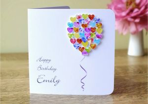 Custom Made Birthday Cards Online Handmade 3d Card Personalised Colourful Balloons