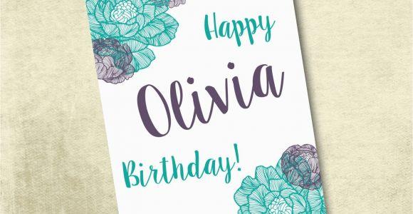 Custom Made Birthday Cards Printable Personalized Printable Birthday Card 5×7 by