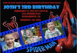 Custom Spiderman Birthday Invitations Invitation Photo Card 5x7 Or 4x6