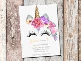 Customised Birthday Invitation Cards Unicorn Birthday Personalized Invitation 1 Sided Birthday