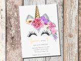 Customizable Printable Birthday Cards Unicorn Birthday Personalized Invitation 1 Sided Birthday