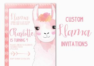 Customized Birthday Invitations Online Llama Party Invitation Custom Animal