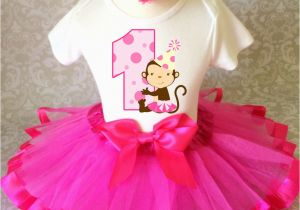 Cute 1st Birthday Girl Outfits Cute Monkey Hot Pink Dots Baby Girl 1st First Birthday