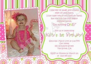 Cute 1st Birthday Invitation Wording Girl Themes Photo