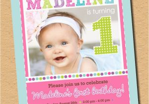 Cute 1st Birthday Invitation Wording As A Button First Party