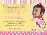 Cute First Birthday Invitation Wording Minnie Mouse 1st Birthday Invitation