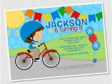 Cycling themed Birthday Cards Bike Ride Boy Personalized Party Invitation
