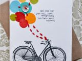 Cycling themed Birthday Cards Birthday Card Handmade Greeting Card Bicycle Balloons