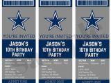 Dallas Cowboys Birthday Party Invitations Dallas Cowboys Birthday Ticket Party Invitations Custom