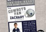 Dallas Cowboys Birthday Party Invitations Dallas Cowboys Football Birthday Invitation by