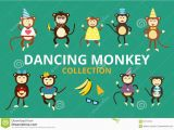 Dancing Birthday Cards with Faces Happy Cartoon Vector Monkey Dancing Party Birthday Stock