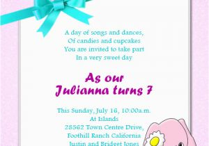 Daughter Birthday Invitation Sms Message For Turning 7 First
