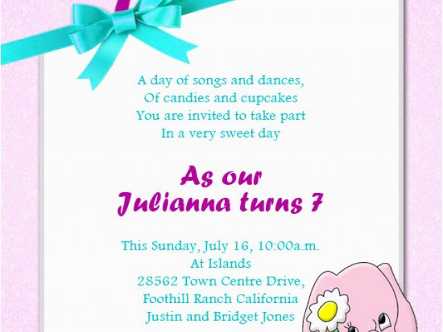 Daughter Birthday Invitation Sms Message For