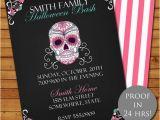 Day Of the Dead Birthday Invitations Halloween Day Of the Dead Party Invitation by