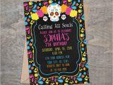 Day Of the Dead Birthday Invitations Sugar Skull Day Of the Dead Digital Birthday Party Invitation