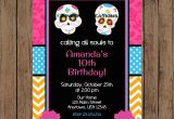 Day Of the Dead Birthday Invitations Sugar Skull Invitation Day Of the Dead Invitation Sugar