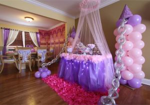 Decoration Ideas for Princess Birthday Party Balloon Decor by Front Window and Tulle with Lights Around