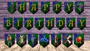 Descendants Happy Birthday Banner Disney Descendants Happy Birthday Banner