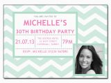 Design Your Own Photo Birthday Invitations Mint Zig Zag Chevron Invitations Add Your Own Photo