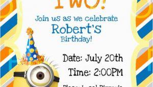 Despicable Me 1st Birthday Invitations Custom Despicable Me 2 Birthday Invitation by