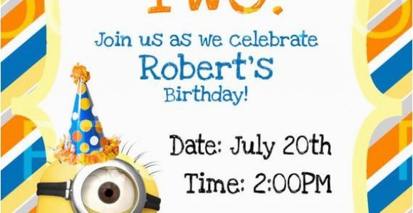 Despicable Me Birthday Invites Custom Despicable Me 2 Birthday Invitation by
