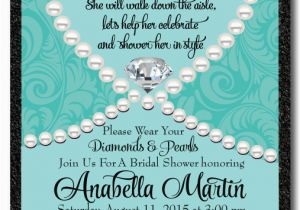 Diamonds and Pearls Birthday Invitations Diamonds Pearls Bridal Shower Invitation Di 1508