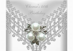 Diamonds and Pearls Birthday Invitations Party White Pearl Diamond Jewel Custom Invitation