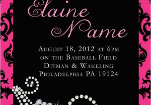 Diamonds and Pearls Birthday Invitations Personalized Damask Pink Diamond Pearl Birthday Invite Ebay