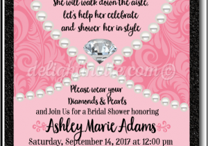 Diamonds and Pearls Birthday Invitations Pink Diamonds Pearls Thank You Card Di 1508ty Custom