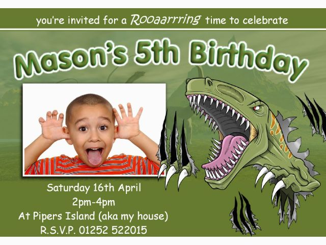 Dinosaur Birthday Invitations With Photo T Rex