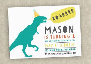 Dinosaur Birthday Party Invitation Wording First