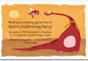 Dinosaur Birthday Party Invitation Wording Red