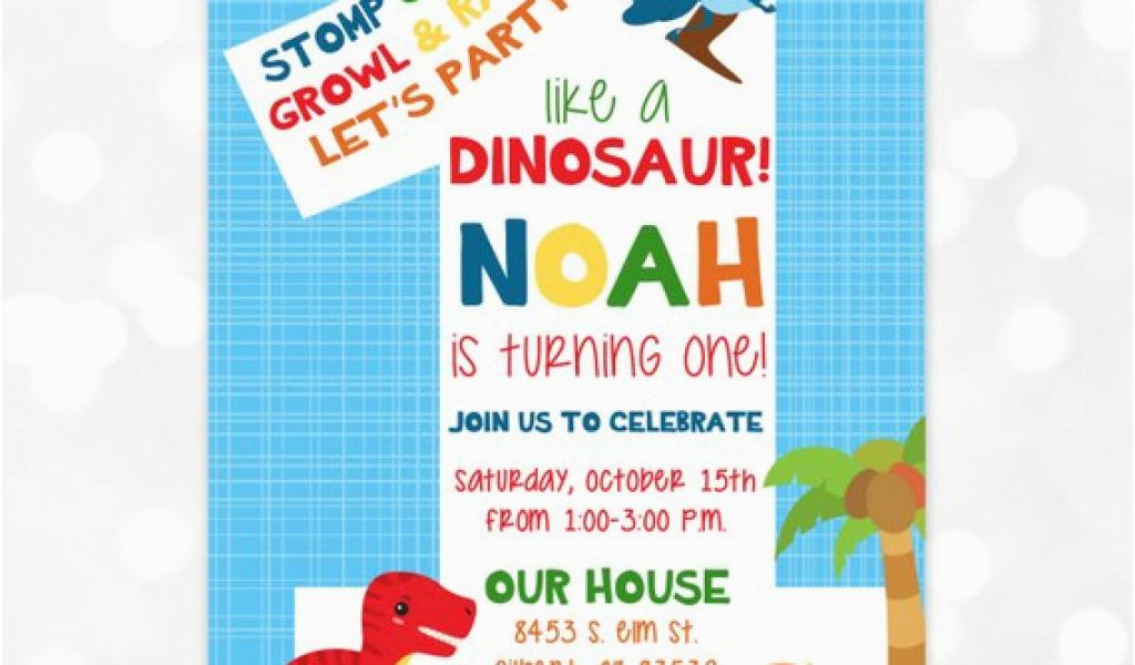 Dinosaur First Birthday Invitations Invitation