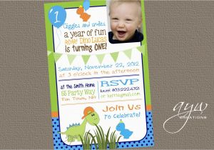 Dinosaur First Birthday Invitations Invitation Party