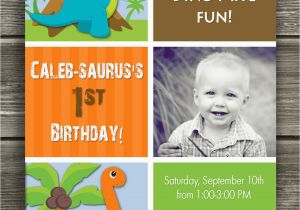 Dinosaur First Birthday Invitations Invitation Free Thank You Card