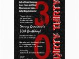 Dirty 30 Birthday Invitation Templates Dirty Thirty Birthday Black White Red Template G20 13 Cm X